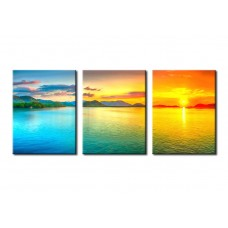 Canvas Prints Sunset on Sea Painting Picture Print on Canvas - 3 Panels Giclee Framed Ready to Hang
