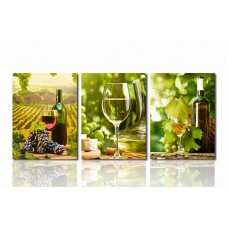 Canvas Prints Grapes and Wine Bottole Glasses Painting Picture Print on Canvas - 3 Panels Giclee Framed Ready to Hang