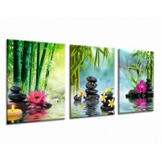 "Green Wall Art Decor Spa Zen Artwork for Bedroom Living Room Office Decoration 3 Piece Canvas Art Framed Ready to Hang 12"" x 16"" 3P"