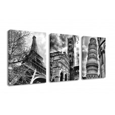Canvas Prints White & Black Famous Building Picture Print on Canvas - 3 Panels Giclee Framed Ready to Hang