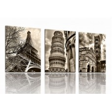 Canvas Prints Vintange Famous Building Picture Print on Canvas - 3 Panels Giclee Framed Ready to Hang
