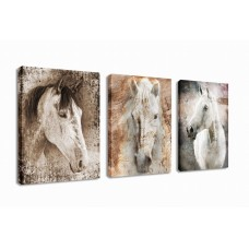 Canvas Wall Art Horse Animal Painting Prints on Canvas Framed Ready to Hang - 3 Panels Vintage Abstract Horses Giclee Prints Modern Artwork for Home Office Decoration …