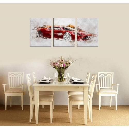 Canvas Wall Art Sport Car Abstract Painting Prints Framed Ready To Hang 3 Pieces