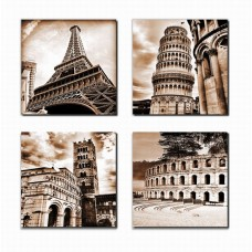 Canvas Wall Art Famous Old Architecture Canvas Artwork - 4 Piece Framed Canvas Art for Wall Decor - Contemporary Canvas Picture for Eiffel Tower Leaning Tower of Pisa Roman Colosseum Lucca Cathedra