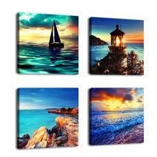 "Canvas Wall Art Ocean Sunset Beach Painting 12"" x 12"" x 4 Pieces Blue Seascape Canvas Art Sea Shore Nature Picture Modern Artwork Sailboat Lighthouse Framed Ready to Hang for Home Office Decoration …"