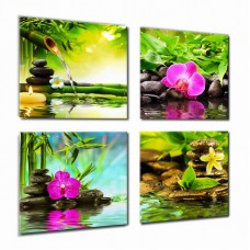 yearainn Canvas Art Zen Canvas Prints Spa Wall Decor 4 Panel Canvas Artwork Modern Pictures Framed Ready to Hang - Spa Massage Treatment Red Orchid Frangipani Bamboo Waterlily Black Stone in Garden …