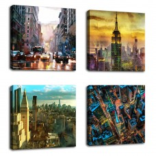 "Canvas Wall Art Modern NY City Skyline Painting New York Skyscraper Abstract Painting Pictures Prints Street Art for Office Wall Decor 12"" x 12"" x 4 Pieces Contemporary Wall Art for Home Decoration …"