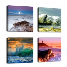 "Canvas Wall Art Sea Waves Sunset Coast Beach Lighthouse Wall Decor Framed 12"" x 12"" x 4 Pieces Canvas Artwork Nature Pictures Ocean Contemporary Giclee Prints for Living Room Home Decoration …"