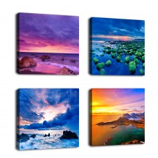 "Ocean Coast Canvas Wall Art Beach Sunset Picture Prints Nature Pictures Modern Blue Wall Decor Canvas Artwork 12"" by 12"" 4 Pieces for Home Decoration"